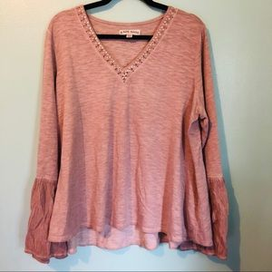 Knox Rose bell sleeve jewel pink sweater top